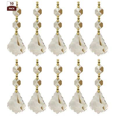 10 Pack Chandelier Replacement Crystal Prisms French Maple Leaf Two Bead Clear Finish: Polished Brass