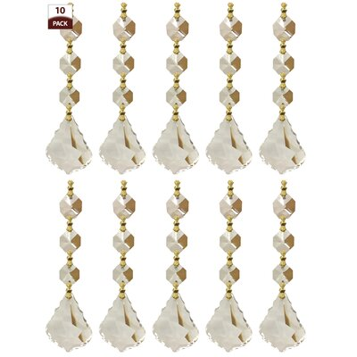 10 Pack Chandelier Replacement Crystal Prisms French Maple Leaf Three Bead Clear Finish: Polished Brass
