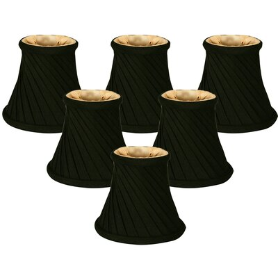5 Shantung Bell Candelabra Shade Color: Black/Gold