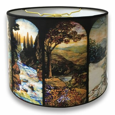 Seasons Stained Glass Printed Designer Hard Back 10 Paper Drum Lamp Shade