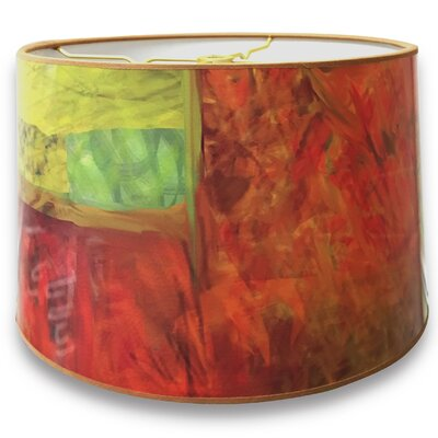 Warm Tone Painterly Designer Hard Back 10 Paper Drum Lamp Shade