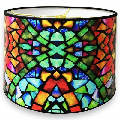 Mosaic Stained Glass Printed Designer Hard Back 10 Paper Drum Lamp Shade