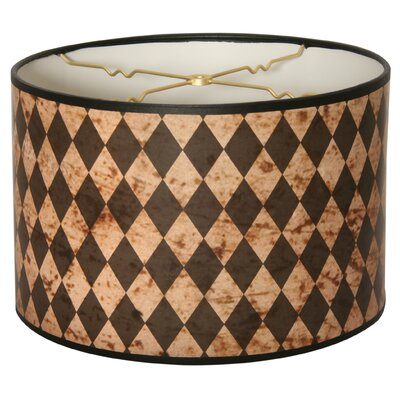 Vertical Diamond on Papyrus Designer Hard Back 10 Paper Drum Lamp Shade Color: Brown/Gray