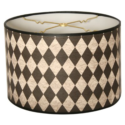 Vertical Diamond on Papyrus Designer Hard Back 10 Paper Drum Lamp Shade Color: Beige/Gray