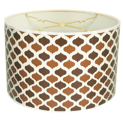 Two-Tone Mediterraneanesque Designer Hard Back 10 Paper Drum Lamp Shade Color: Brown/Light Brown