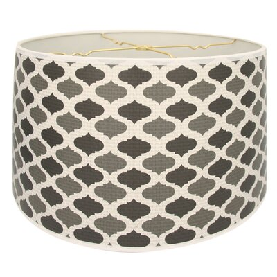 Two-Tone Mediterraneanesque Designer Hard Back 10 Paper Drum Lamp Shade Color: Black/Gray