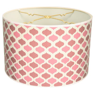 Two-Tone Mediterraneanesque Designer Hard Back 10 Paper Drum Lamp Shade Color: Pink/Red