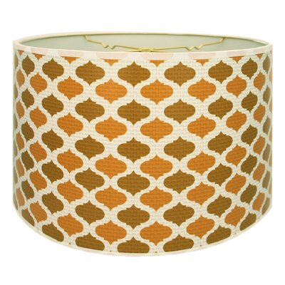 Two-Tone Mediterraneanesque Designer Hard Back 10 Paper Drum Lamp Shade Color: Light Brown/Orange