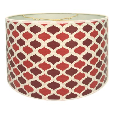 Two-Tone Mediterraneanesque Designer Hard Back 10 Paper Drum Lamp Shade Color: Red