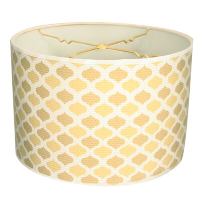 Two-Tone Mediterraneanesque Designer Hard Back 10 Paper Drum Lamp Shade Color: Beige/Yellow