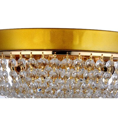 Aguilera Polished Brass Round Sabine Crystal Ceiling 2 Light Flush Mount