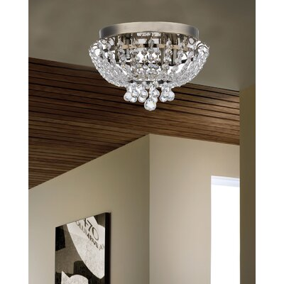Aguilera Brass Round Bijou Crystal Ceiling 2 Light Flush Mount