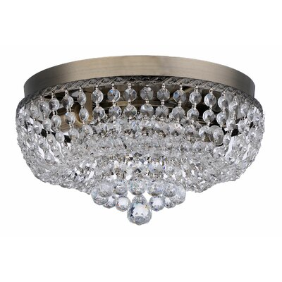 Aguilera Brass Round Manon Crystal Ceiling 2 Light Flush Mount