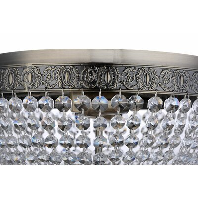 Aguilera Brass Round Josette Crystal Ceiling 2 Light Flush Mount
