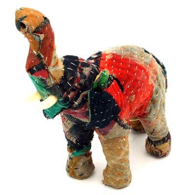 Vintage Sari Fabric Wrapped Paper Mache Elephant Figurine 94550
