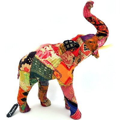 Vintage Sari Fabric Wrapped Paper Mache Giant Elephant Figurine 94600