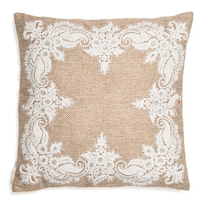 Jute Base with Kora Thread Embroidery Throw Pillow