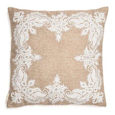 Jute Base with Kora Thread Embroidery Throw Pillow