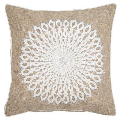 Fawnia Dahlia Center Embelleished on a Coarse Jute Throw Pillow