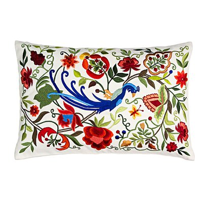 Summer Peacock Silk Lumbar Pillow