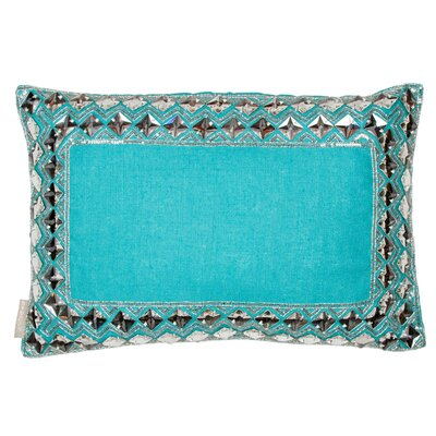 Square Crystals Border Linen Lumbar Pillow