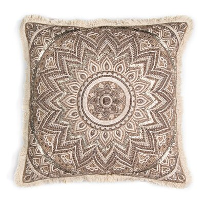 Burlap with Center Embroidered Panel Throw Pillow