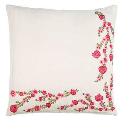 Two Sides Flower Embroidery Linen Throw Pillow