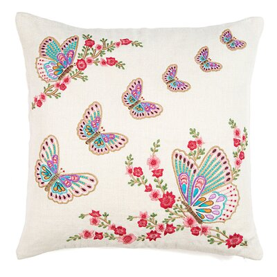 Butterfly Embroidery Work Linen Throw Pillow