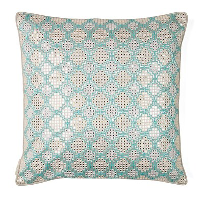 Shimmer Embroidery Silk Throw Pillow Color: Aqua