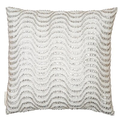 Sequin Stones Embroidered in Waves Throw Pillow Color: Silver