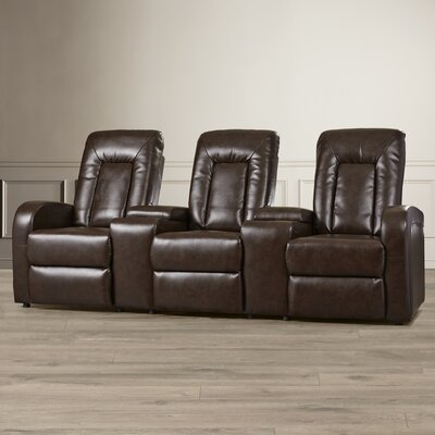Leather Home Theater Group Seating Row of 3 Upholstery: Brown