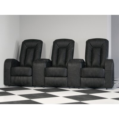 Leather Home Theater Group Seating Row of 3 Upholstery: Black