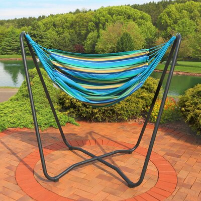 Krystal 2-Point Chair Swing and Space-Saving Hanging Cotton Chair Hammock Color: Ocean Breeze
