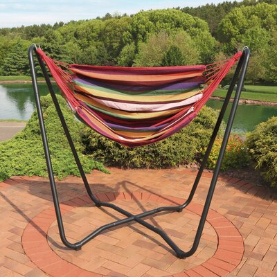 Krystal 2-Point Chair Swing and Space-Saving Hanging Cotton Chair Hammock Color: Sunset