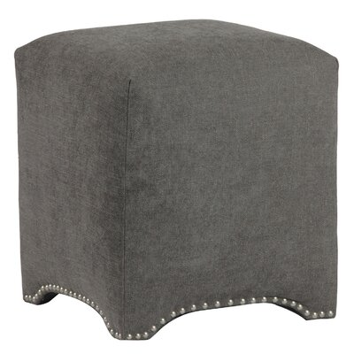 Emma Upholstered Nailhead Cube Ottoman Upholstery: Avigon Charcoal