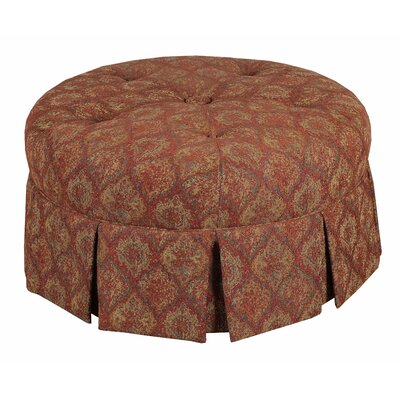 Ava Round Pleated Upholstered Ottoman Upholstery: Tomato