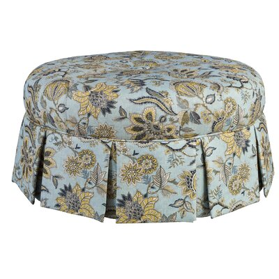Ava Cocktail Ottoman Upholstery: Blue/Gold