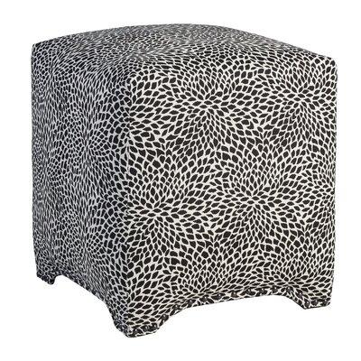 Emma Upholstered Nailhead Cube Ottoman Upholstery: Tiny Leaves Onyx
