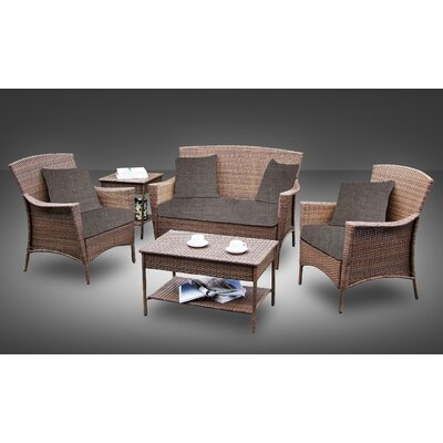 Hudson All-Weather Casual Conversation 5 Piece Deep Seating Group with Cushion