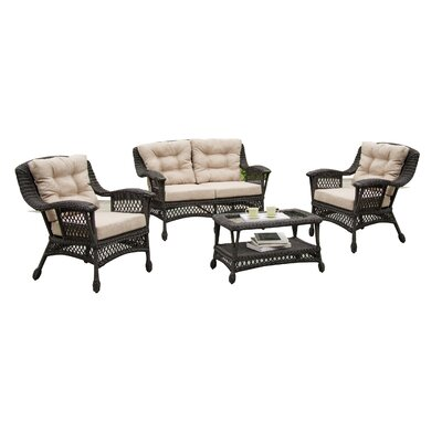Viva All-Weather Wicker 4 Piece Deep Seating Group with Cushion