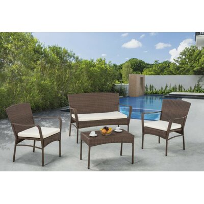 Quatro 4 Piece Lounge Seating Group with Cushions
