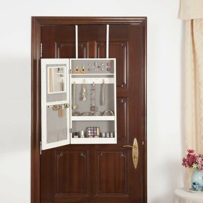 Over the door Jewelry Armoire with Mirror Finish: White