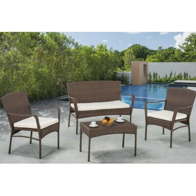 Leisure Outdoor Garden 4 Piece Deep Seating Group with Cushions