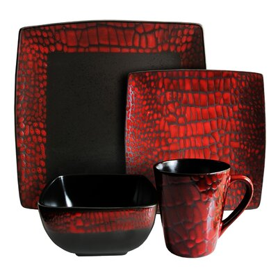 Boa 16 Piece Dinnerware Set Color: Red