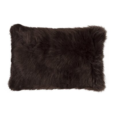 Gaetane Faux Fur Lumbar Pillow Color: Chocolate