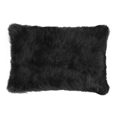 Gaetane Faux Fur Lumbar Pillow Color: Black