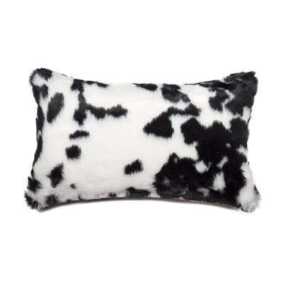 Weehawken Jamal Faux Fur Lumbar Pillow Color: Black & White