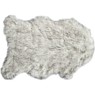 Shayne Faux Sheepskin Gradient Gray Area Rug