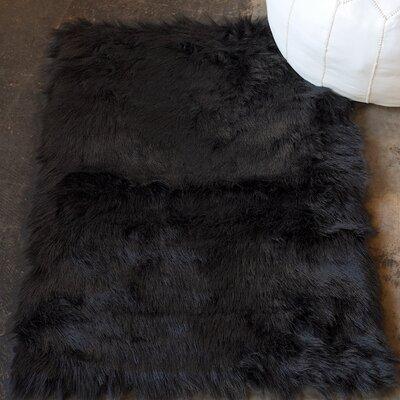 Shawnta Faux Sheepskin Black Area Rug Rug Size: 3' x 5'