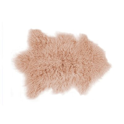 Rockwall Faux Sheepskin Dusty Rose Area Rug